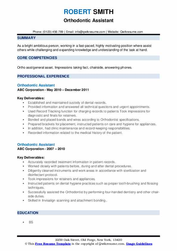 Orthodontic Assistant Resume Samples Qwikresume