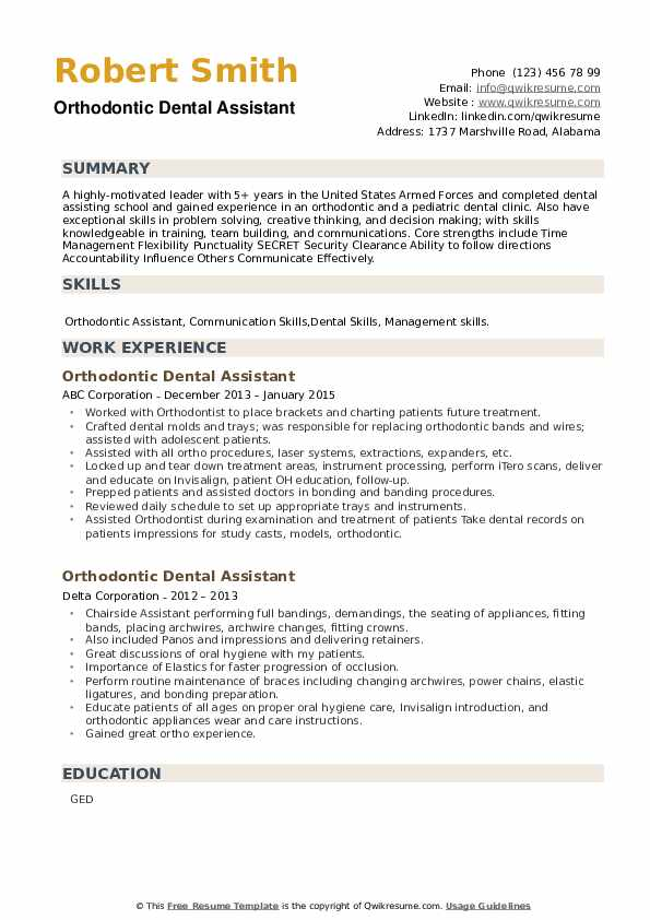 Orthodontic Dental Assistant Resume example