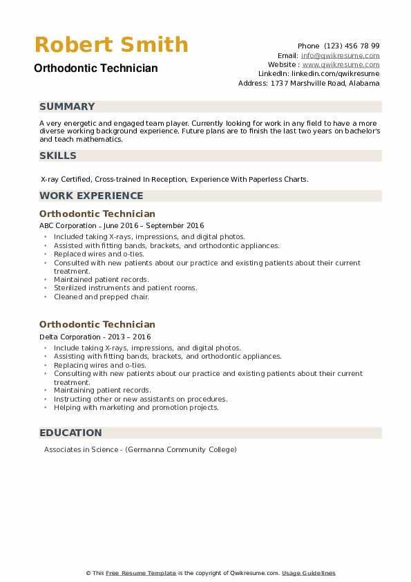 Orthodontic Technician Resume example