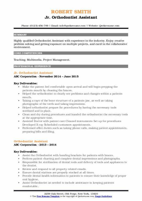 Jr. Orthodontist Assistant Resume Model