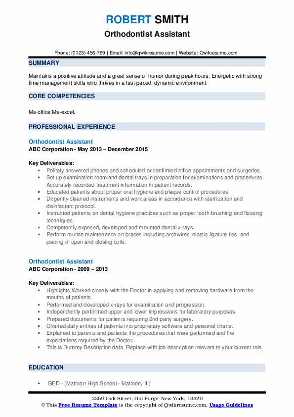 Orthodontist Assistant Resume example