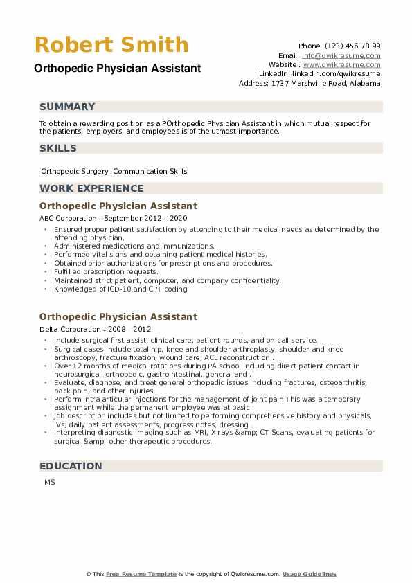 Orthopedic Physician Assistant Resume example