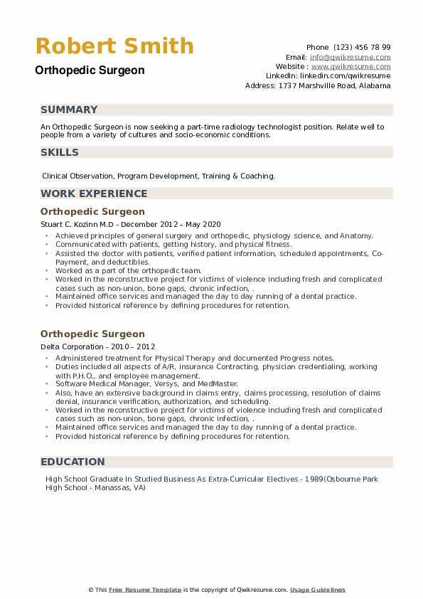 Orthopedic Surgeon Resume example