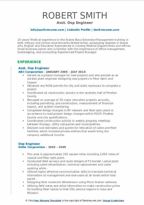 osp engineer resume samples