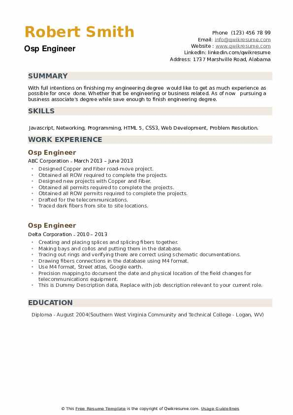 Osp Engineer Resume example