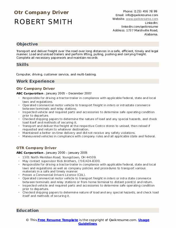 otr company driver resume samples