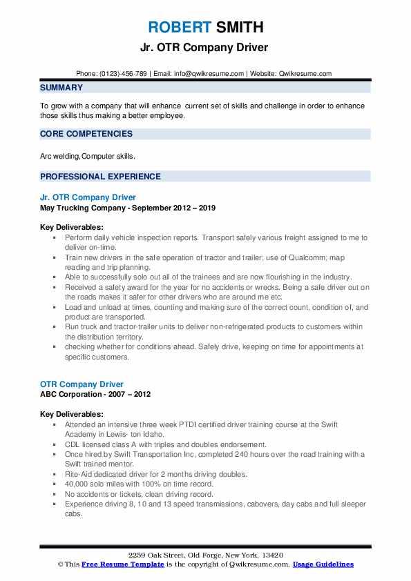 Jr. OTR Company Driver  Resume Format