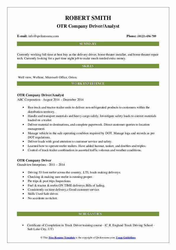 OTR Company Driver/Analyst Resume Sample