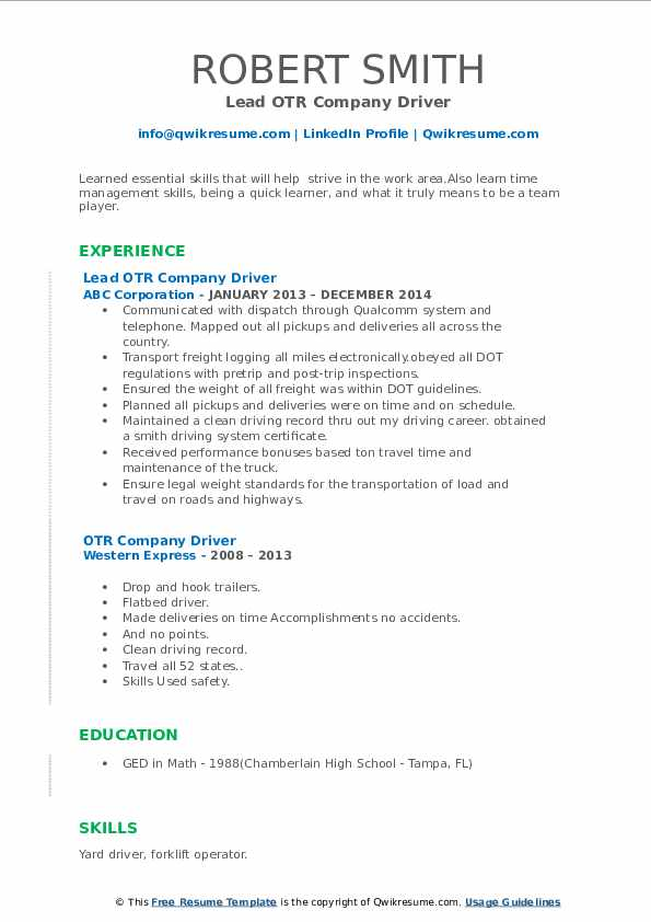 Lead OTR Company Driver Resume Example