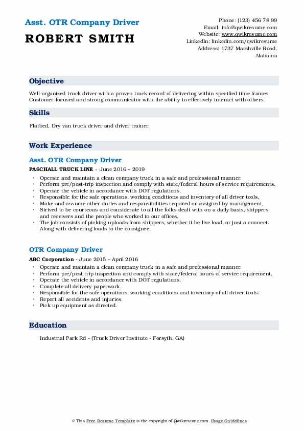 Asst. OTR Company Driver Resume Template