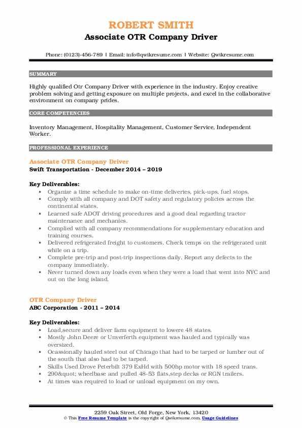 Associate OTR Company Driver Resume Sample