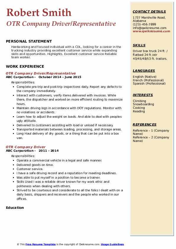 OTR Company Driver/Representative Resume Template
