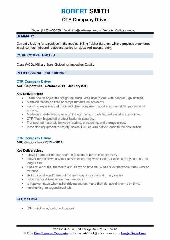 OTR Company Driver Resume example