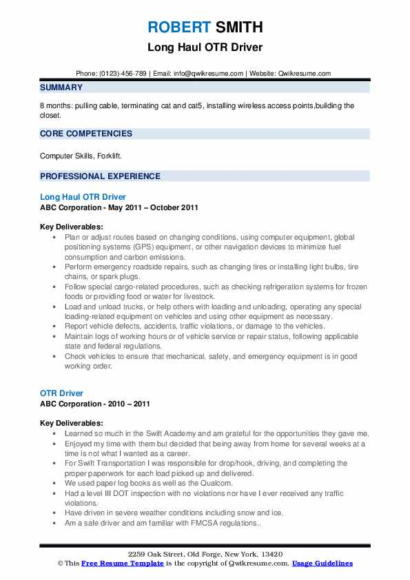 Long Haul OTR Driver Resume Example
