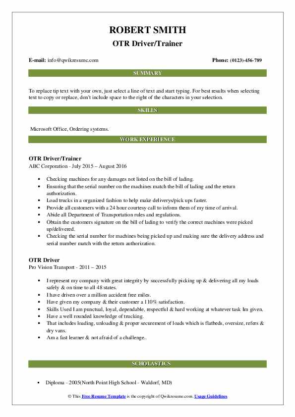 OTR Driver/Trainer Resume Example