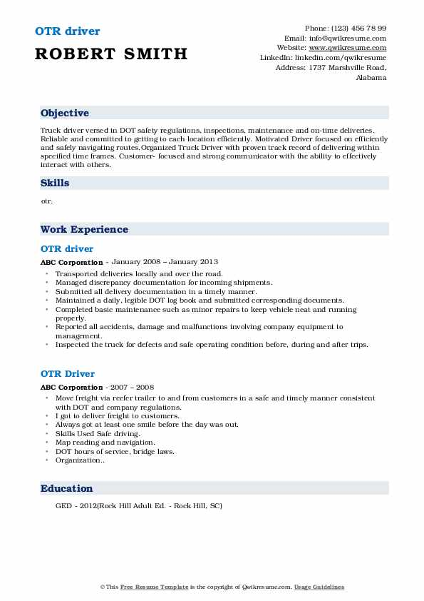 Local Truck Driver II Resume Template