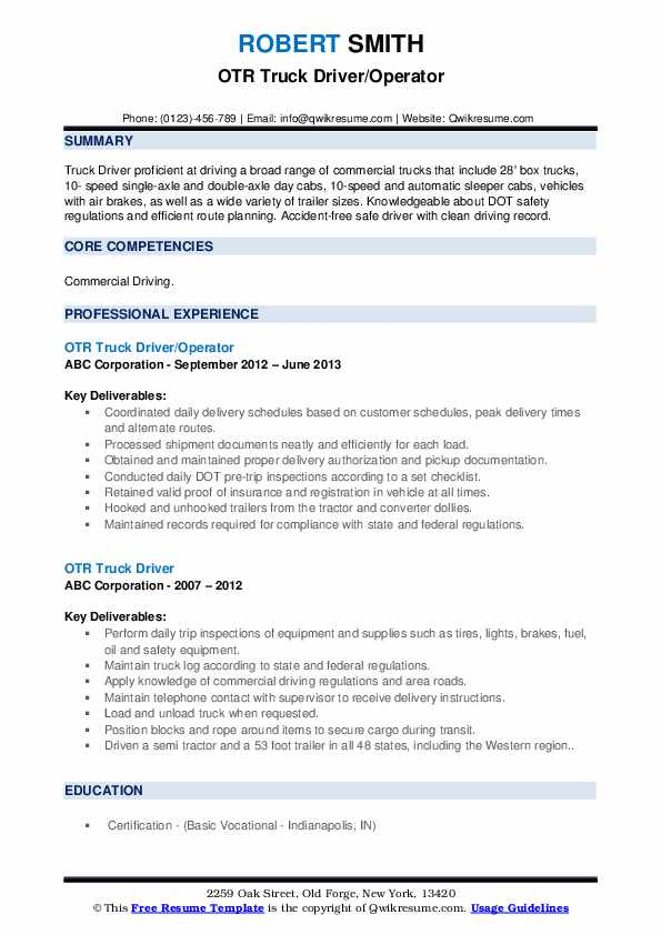 OTR Truck Driver/Operator Resume Template