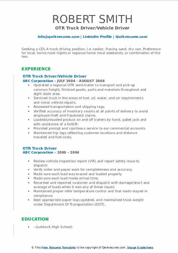 OTR Truck Driver/Vehicle Driver Resume Template