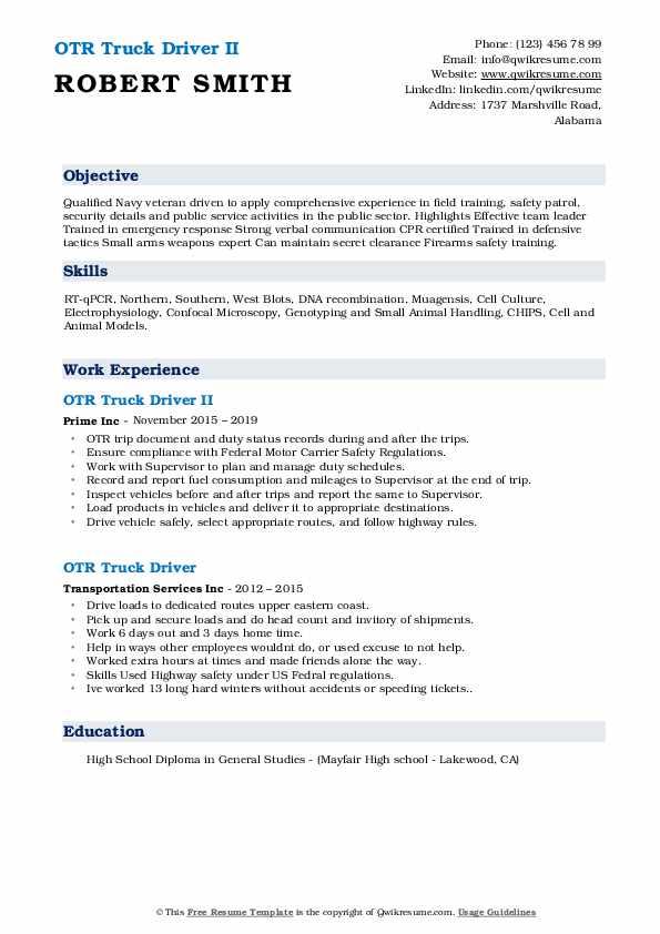 OTR Truck Driver II Resume Sample