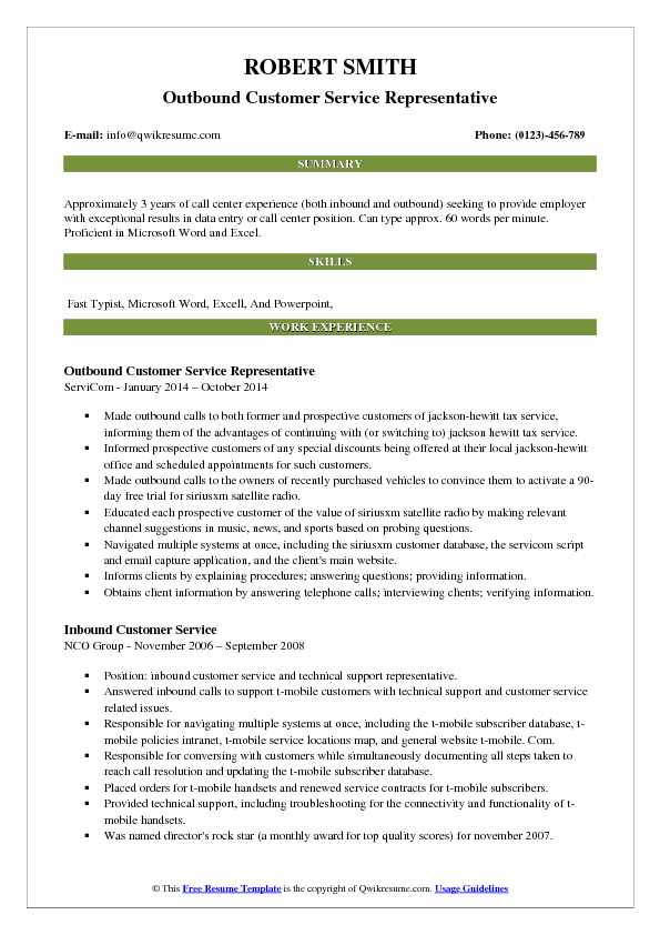 outbound customer service representative resume samples