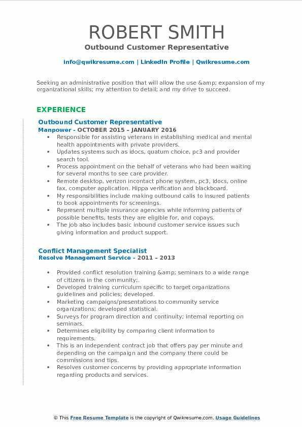 Outbound Customer Representative Resume Sample