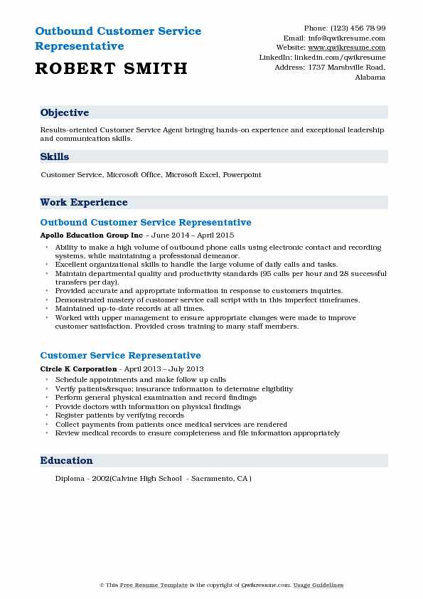 Outbound Customer Service Representative Resume Sample