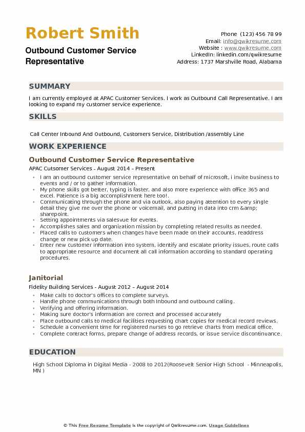 outbound customer service representative resume example - Customer Service Resume