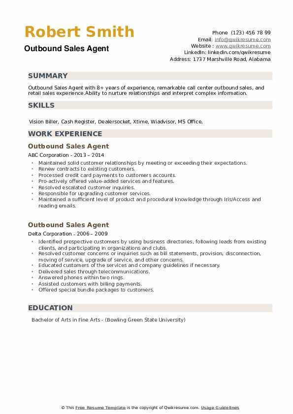 Outbound Sales Agent Resume example