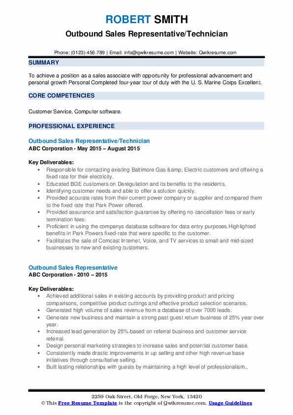 Outbound Sales Representative/Technician Resume Template