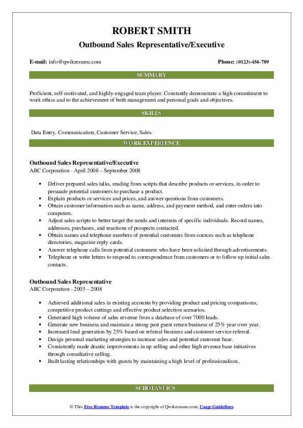 Outbound Sales Representative/Executive Resume Example