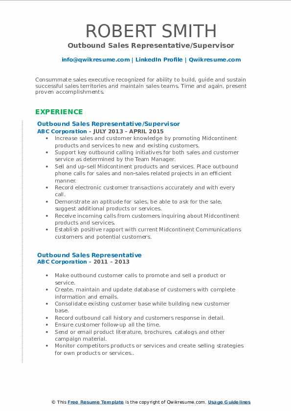 Outbound Sales Representative/Supervisor Resume Sample