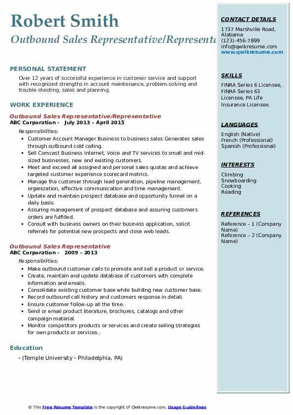 Outbound Sales Representative/Representative Resume Format