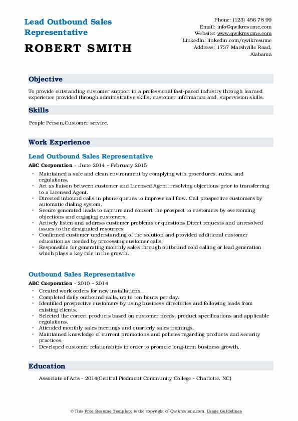 Lead Outbound Sales Representative Resume Model