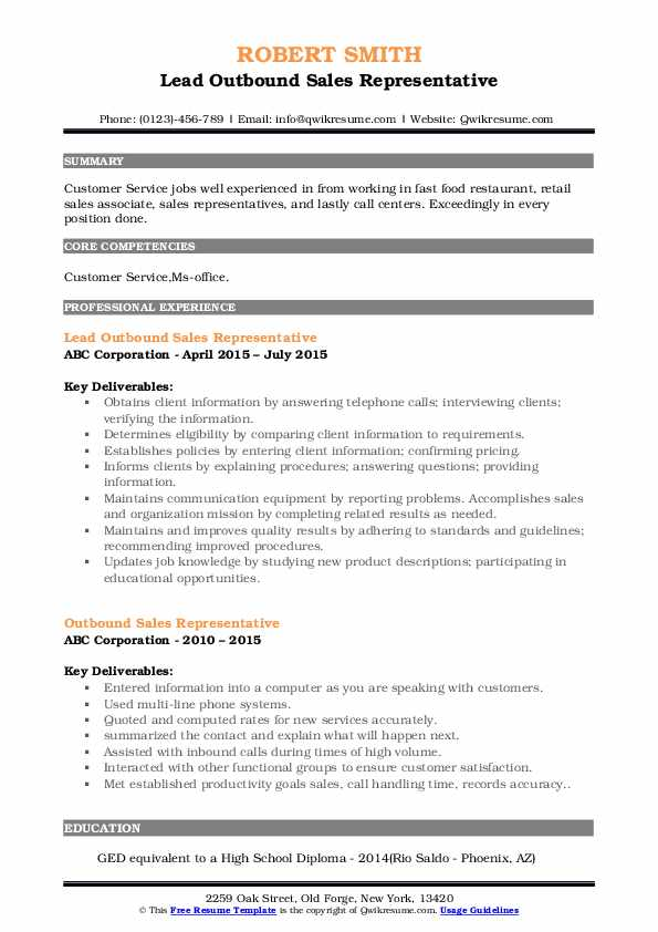 Lead Outbound Sales Representative Resume Format