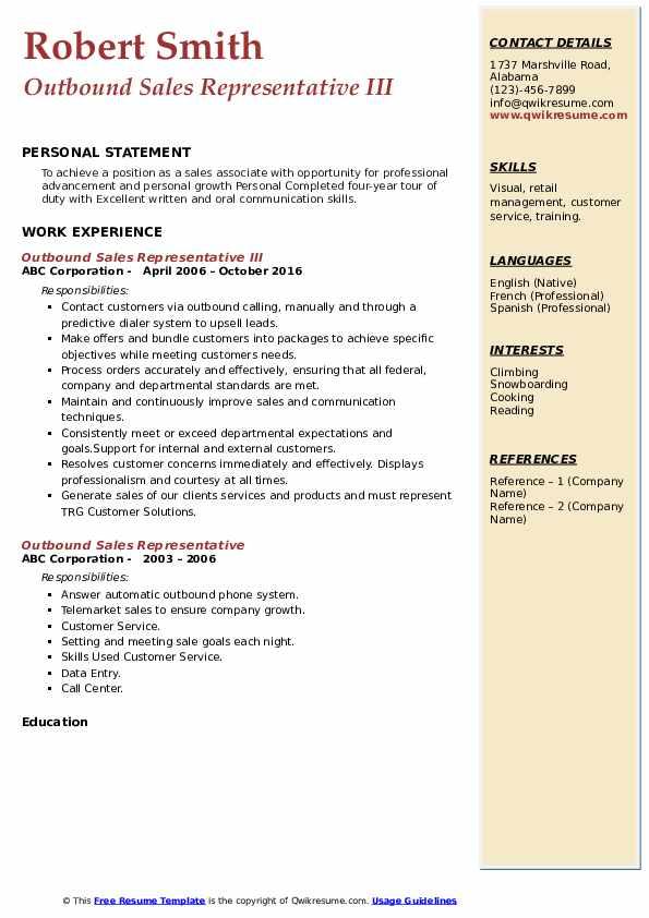 Outbound Sales Representative III Resume Sample