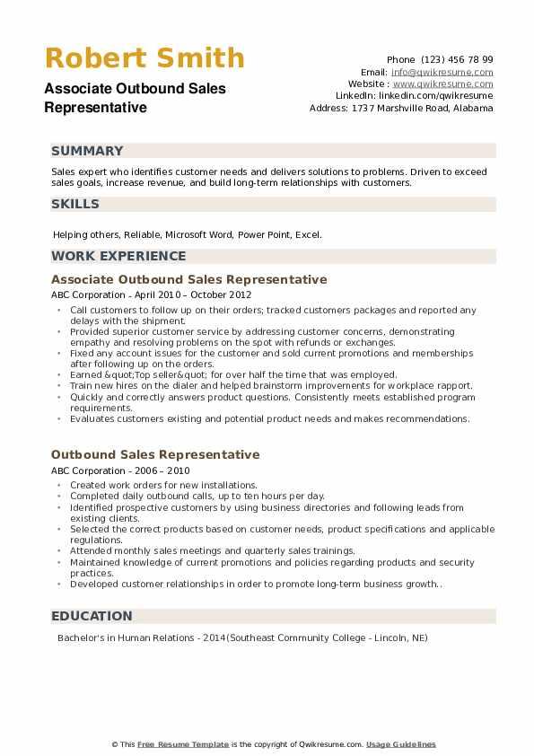 Associate Outbound Sales Representative Resume Template