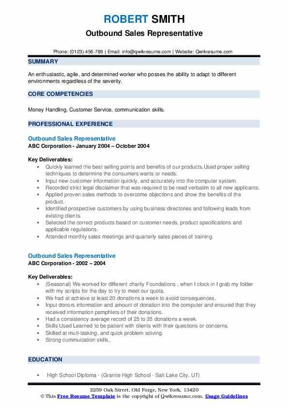 Outbound Sales Representative Resume example