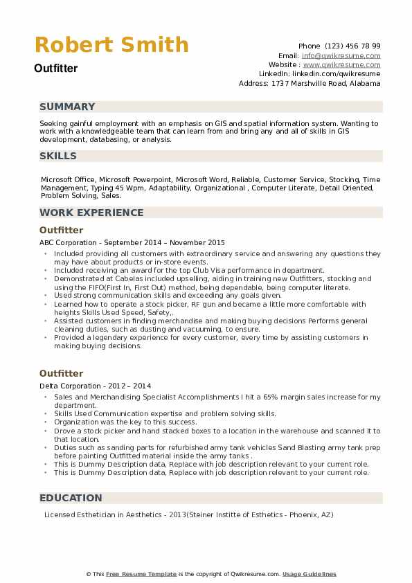 Outfitter Resume example