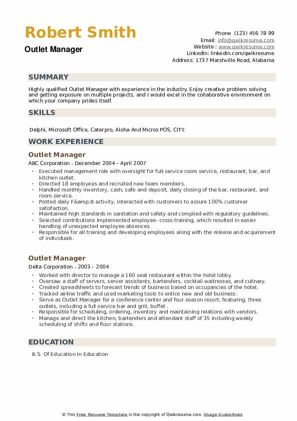 Outlet Manager Resume example