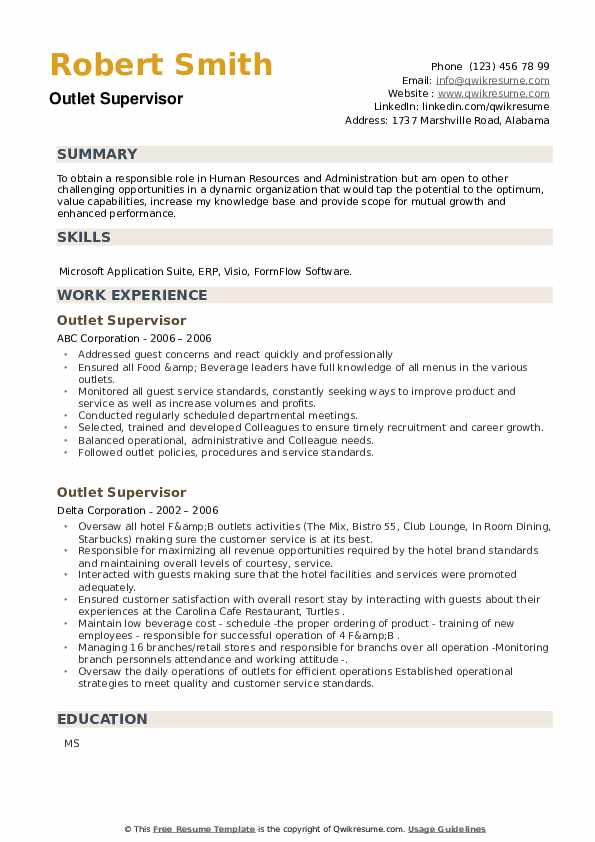 Outlet Supervisor Resume example