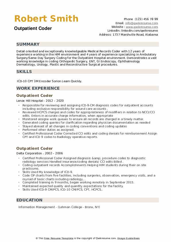 Outpatient Coder Resume example