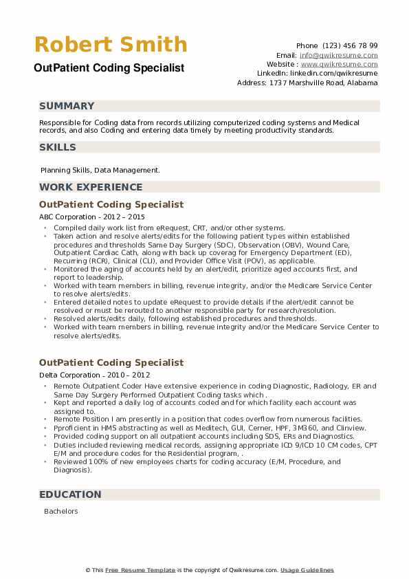 OutPatient Coding Specialist Resume example