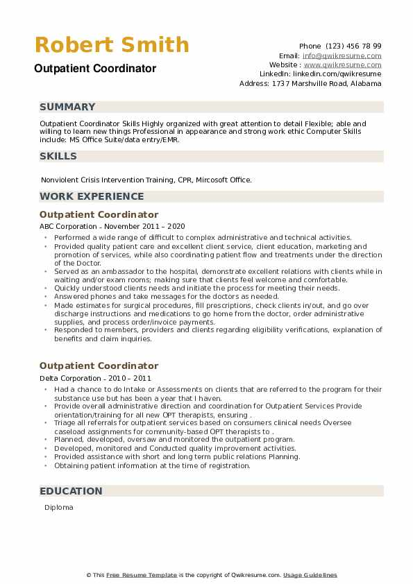 Outpatient Coordinator Resume example