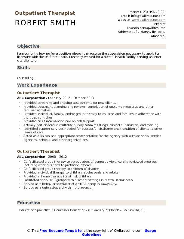Outpatient Therapist Resume Samples Qwikresume