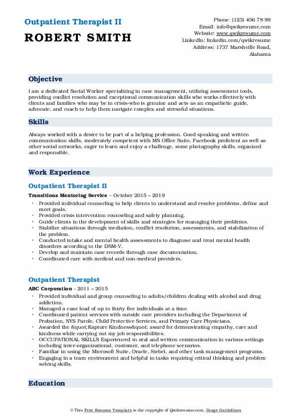 Outpatient Therapist II Resume Example