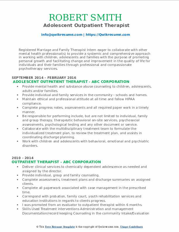 Adolescent Outpatient Therapist Resume Model