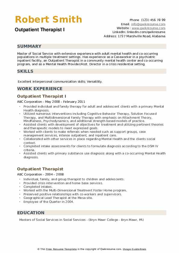 Outpatient Therapist I Resume Template