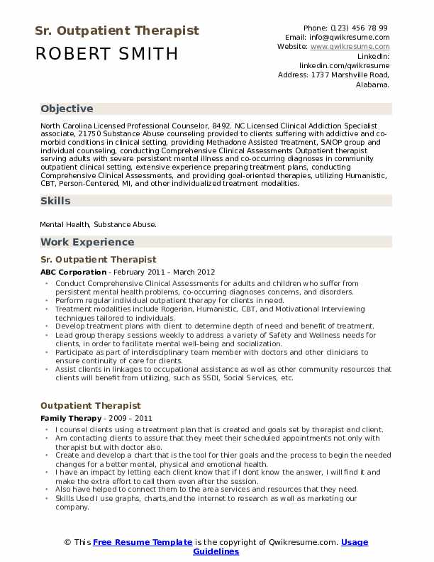 Sr. Outpatient Therapist Resume Sample