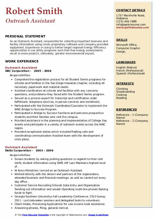 outreach assistant resume samples  qwikresume