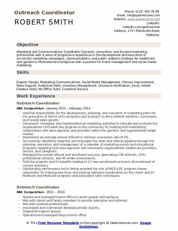 Outreach Coordinator Resume Template